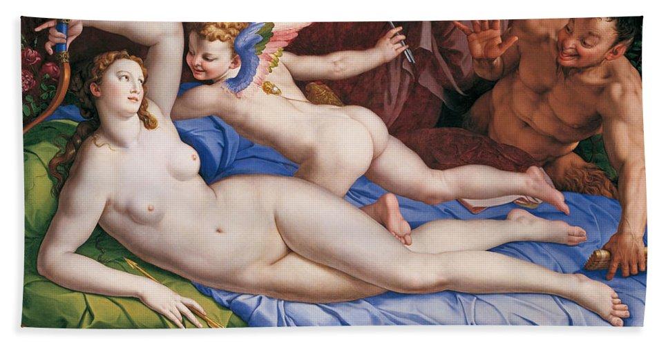 Bronzino Bath Sheet featuring the painting Venus, Cupid And A Satyr by Bronzino