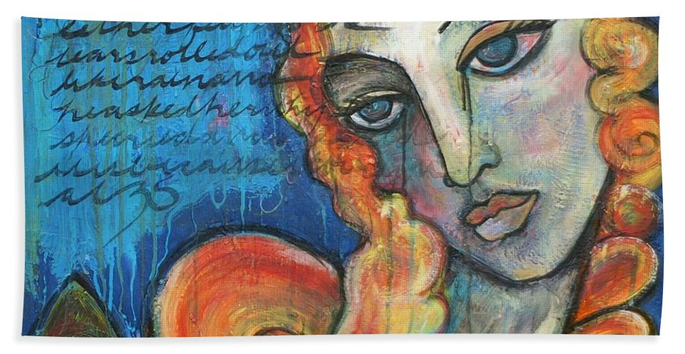 Venus Hand Towel featuring the painting Venus Lets Go by Laurie Maves ART