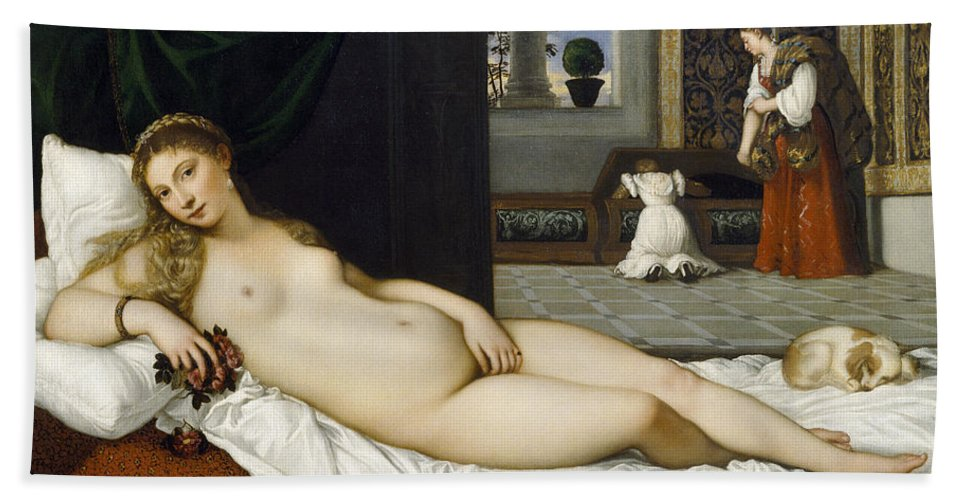 Nude; Bed Chamber; Female; Reclining; Venetian Renaissance; Goddess Of Love; Aphrodite; Interior; Maid; Chest; Cassone; Urbin Bath Sheet featuring the painting Venus Of Urbino Before 1538 by Tiziano Vecellio