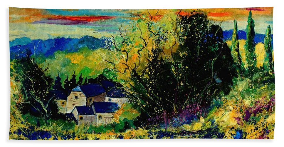 Tree Hand Towel featuring the painting ver by Pol Ledent
