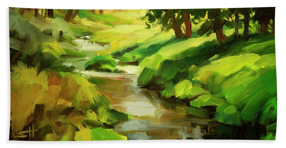 River Bath Towel featuring the painting Verdant Banks by Steve Henderson