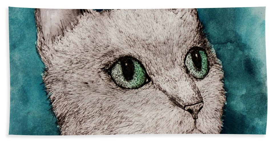 Cat Bath Sheet featuring the painting Verde Eyes by Melinda Etzold