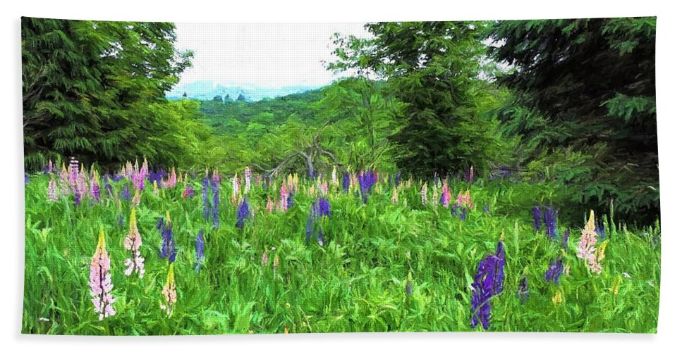 Vermont Hand Towel featuring the painting Vermont Lupine by Mim White