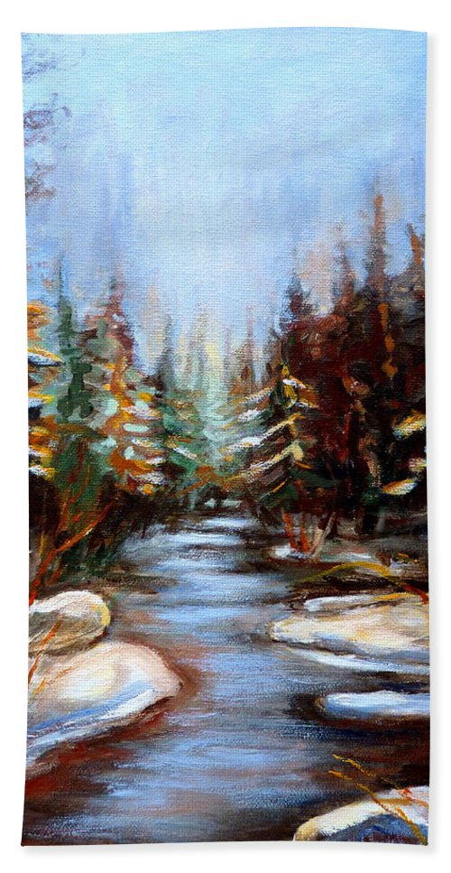 Vermont Hand Towel featuring the painting Vermont Stream by Carole Spandau