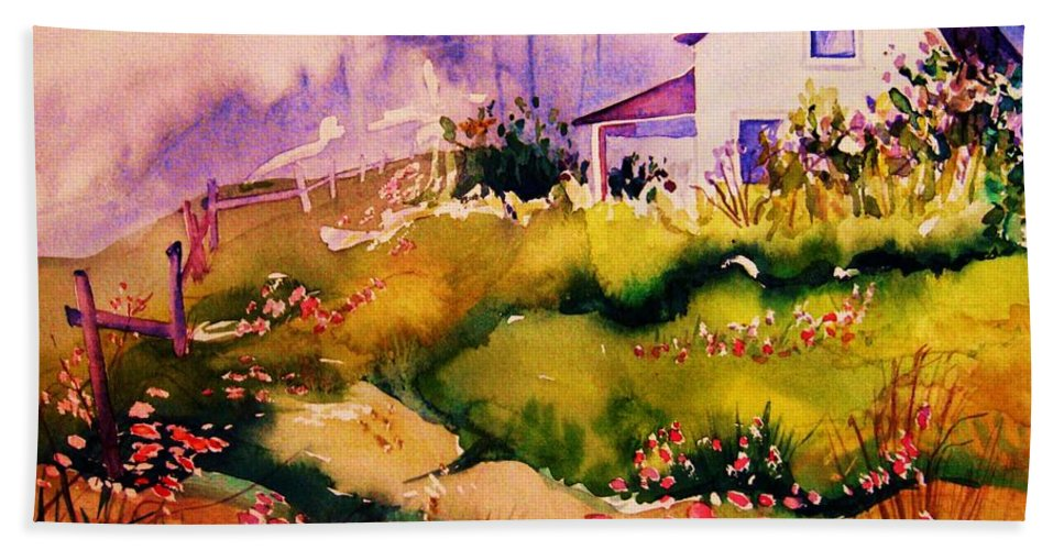 Cottagescenes Bath Towel featuring the painting Vermont Summers by Carole Spandau