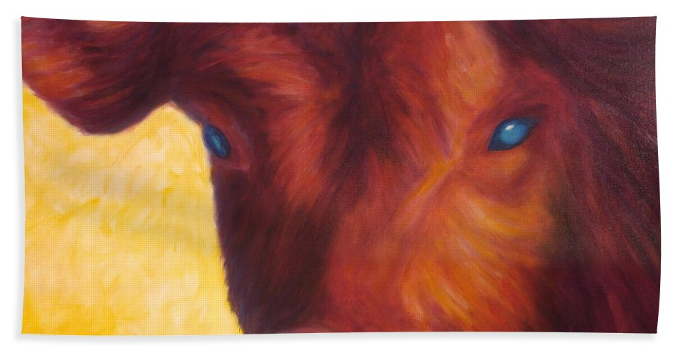 Bull Bath Towel featuring the painting Vern by Shannon Grissom