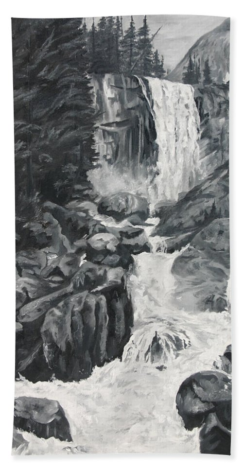 Landscape Bath Sheet featuring the painting Vernal Falls Black And White by Travis Day