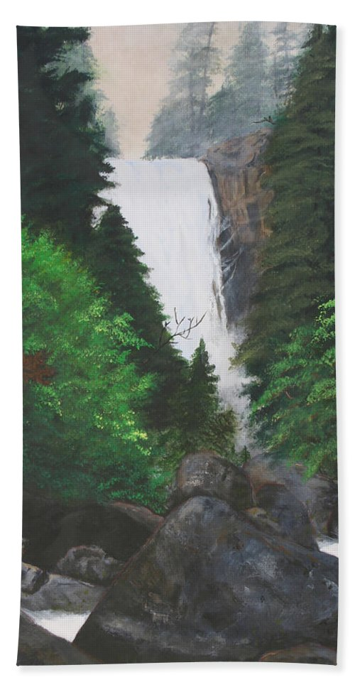 Landscape Hand Towel featuring the painting Vernal Falls by Travis Day