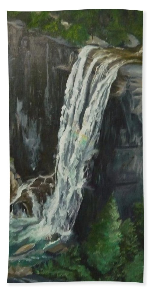 Vernal Falls Hand Towel featuring the painting Vernal by Travis Day