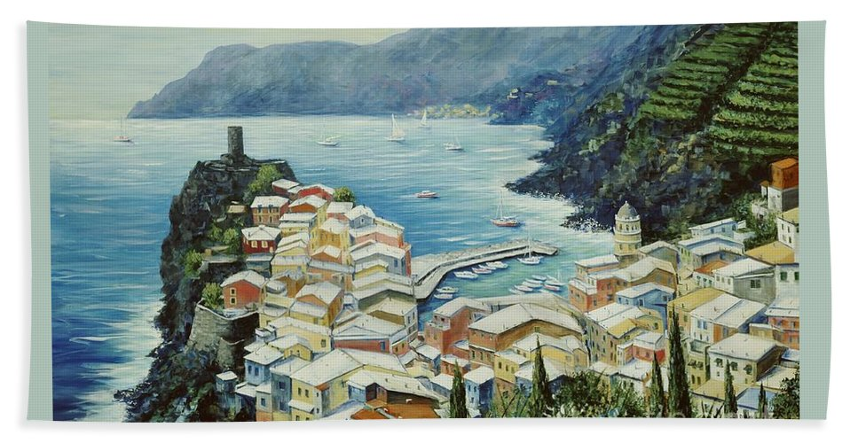 Vernazza Bath Sheet featuring the painting Vernazza Cinque Terre Italy by Marilyn Dunlap