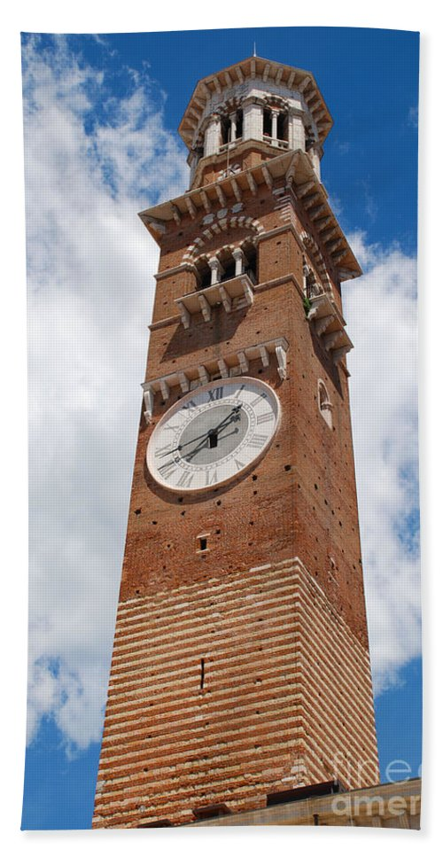Verona Hand Towel featuring the photograph Verona Italy - Beautiful Torre Dei Lamberti by Just Eclectic