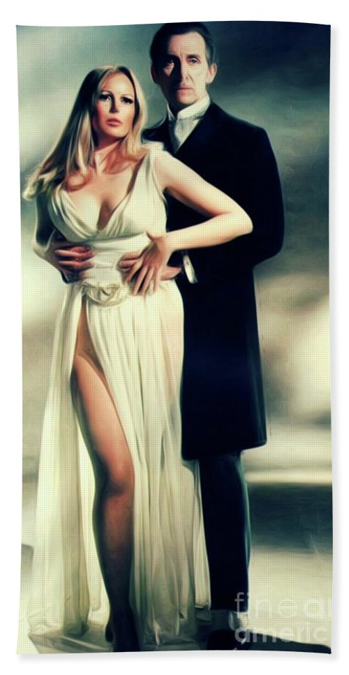 Veronica Bath Sheet featuring the digital art Veronica Carlson And Peter Cushing by Mary Bassett