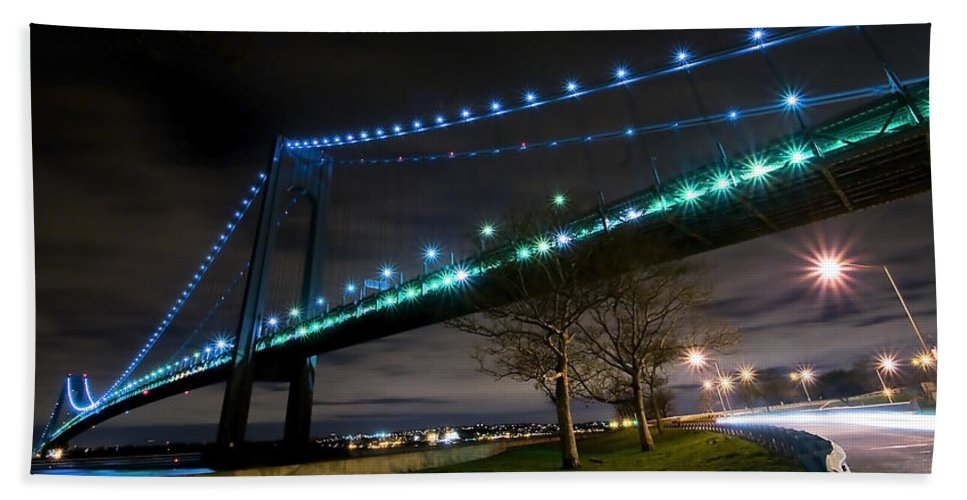 America Bath Sheet featuring the photograph Verrazano-narrows Bridge by Svetlana Sewell