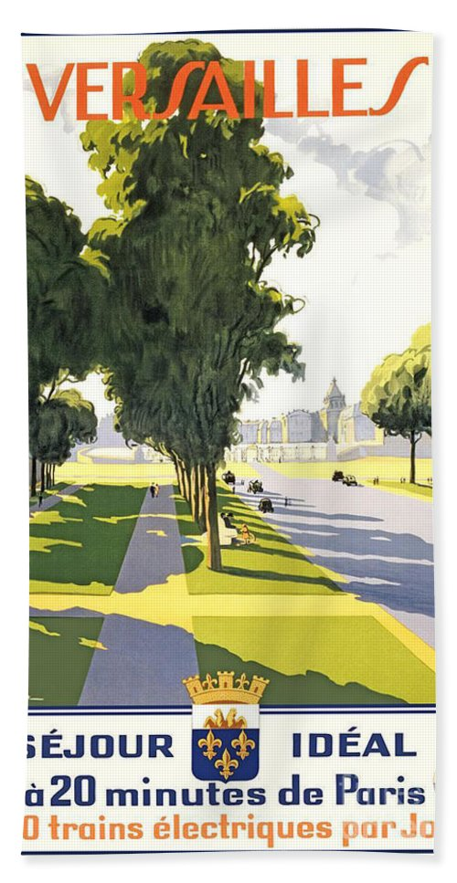 Versailles Travel Poster Hand Towel featuring the painting Versailles Travel Poster by Pd