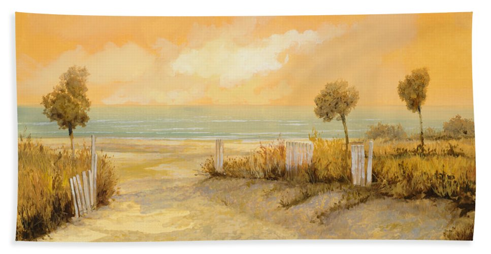 Beach Bath Sheet featuring the painting Verso La Spiaggia by Guido Borelli