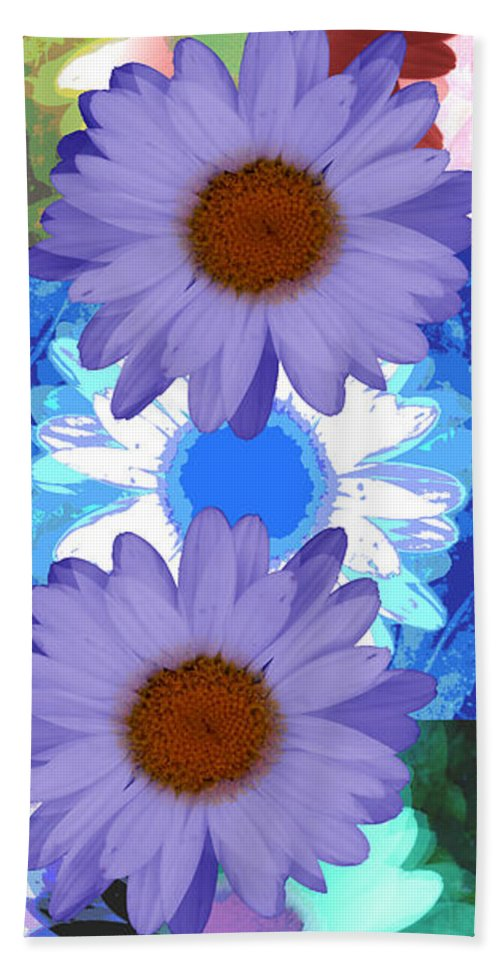ruth Palmer Art Bath Sheet featuring the digital art Vertical Daisy Collage by Ruth Palmer