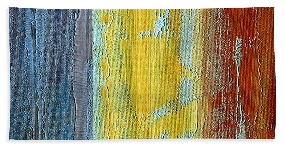 ruth Palmer Hand Towel featuring the painting Vertical Interfusion II by Ruth Palmer