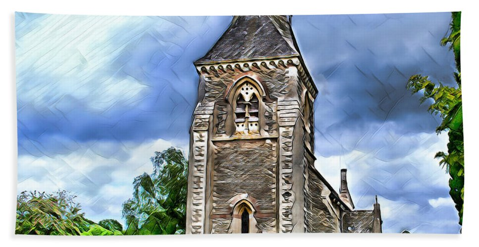 Church Hand Towel featuring the digital art Very Old Church by Pennie McCracken