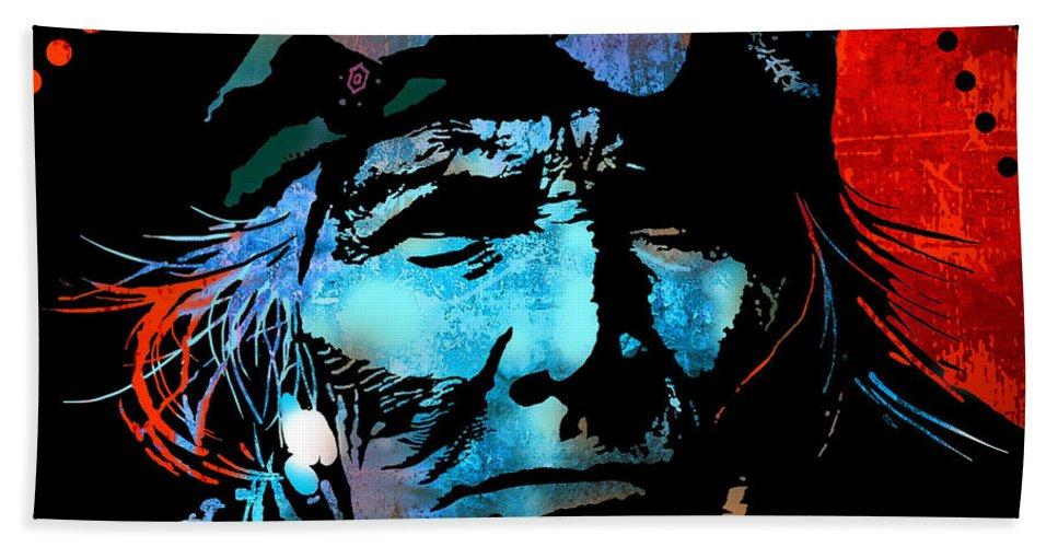 Native Americans Bath Sheet featuring the painting Veteran Warrior by Paul Sachtleben