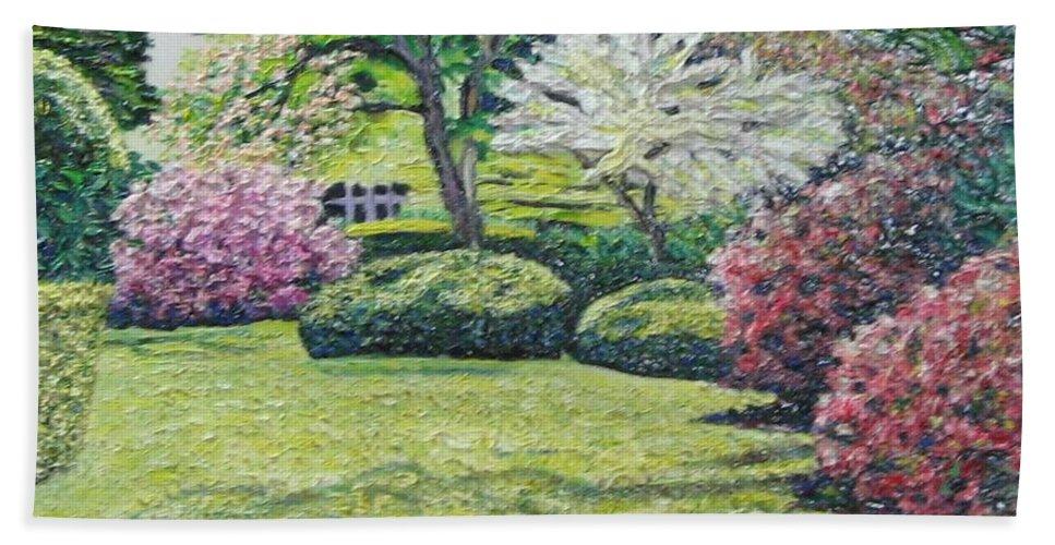 Park Bath Sheet featuring the painting Veterans Park Blossoms by Richard Nowak