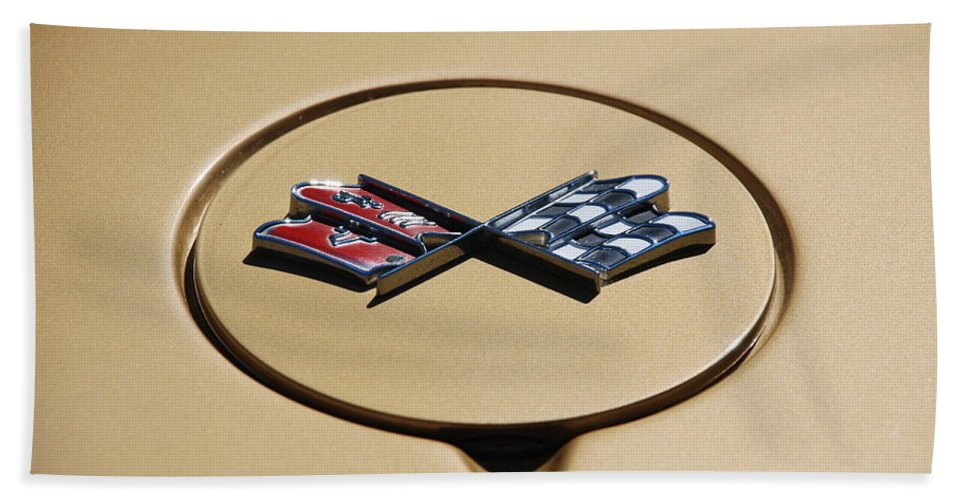 Corvette Bath Towel featuring the photograph Vette Flags by Rob Hans