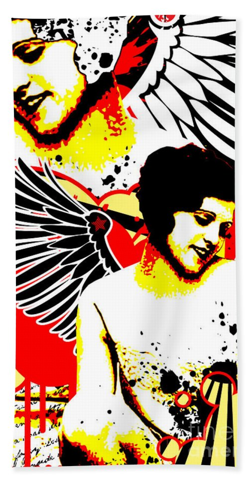 Nostalgic Seduction Bath Sheet featuring the digital art Vexed Angel by Chris Andruskiewicz