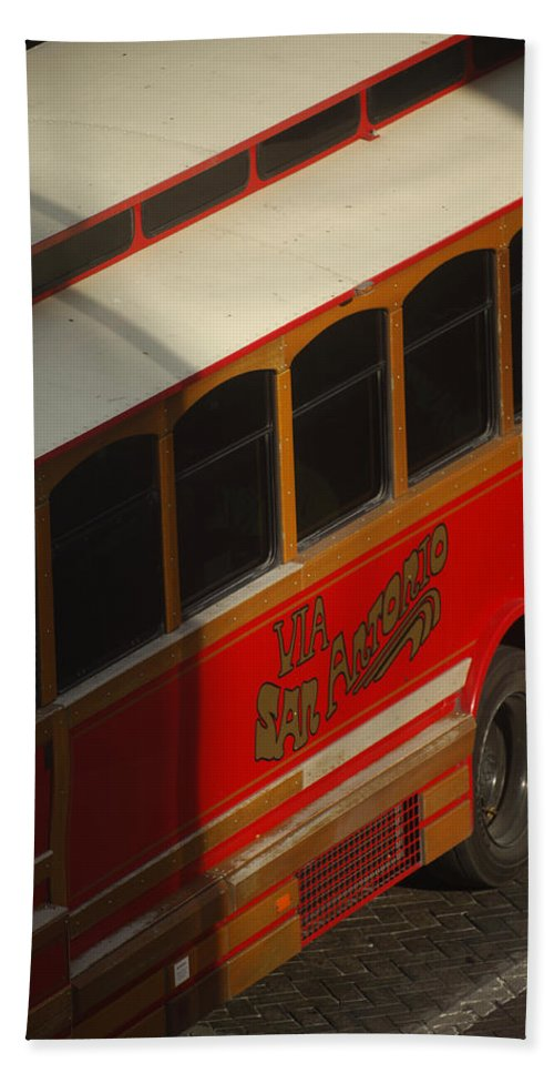 Trolley Bath Sheet featuring the photograph Via San Antonio Trolley by Jill Reger