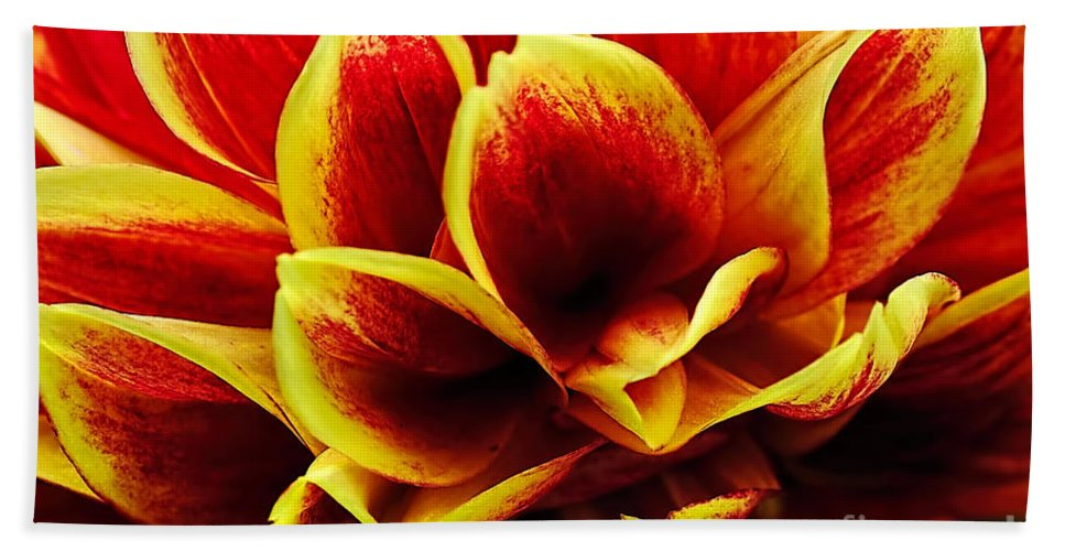 Photography Hand Towel featuring the photograph Vibrant Dahlia Petals by Kaye Menner