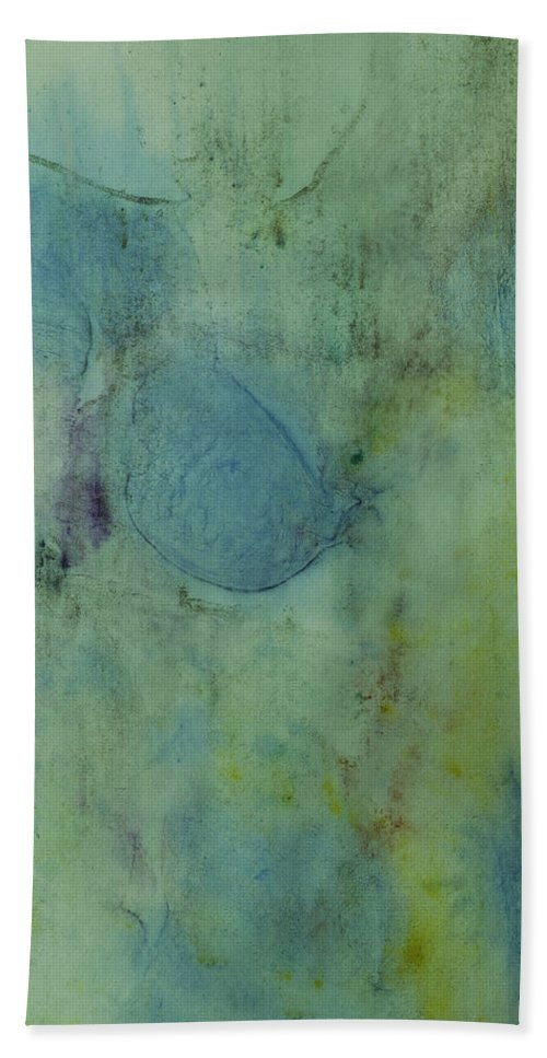 Abstracts Hand Towel featuring the painting Vibrant Green Abstract Ink Design by Peter v Quenter