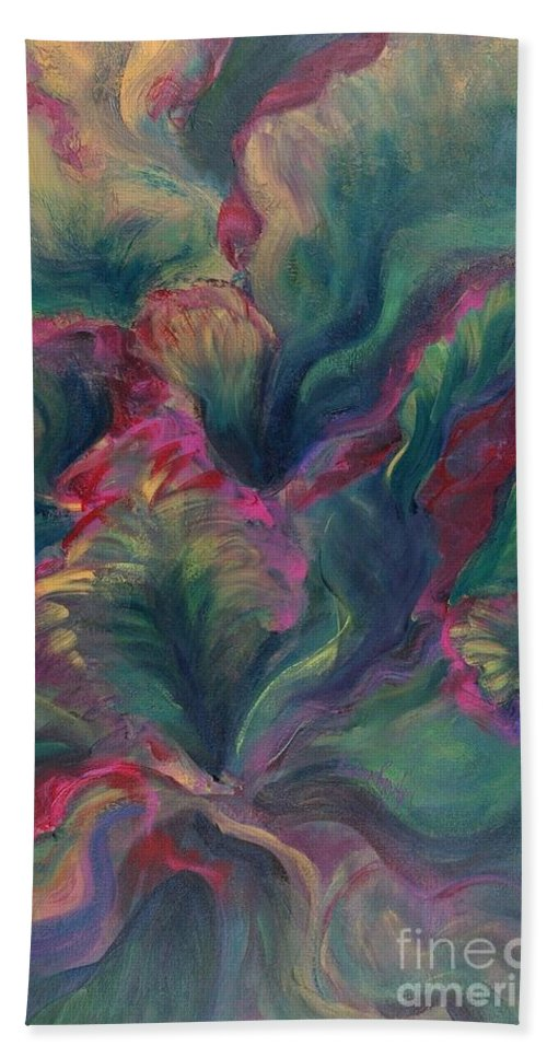 Leaves Bath Sheet featuring the painting Vibrant Leaves by Nadine Rippelmeyer