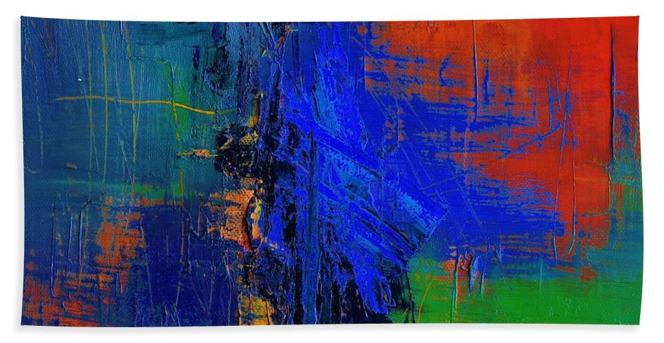 Abstract Bath Sheet featuring the painting Vibration by Mary-Elise Art and Design
