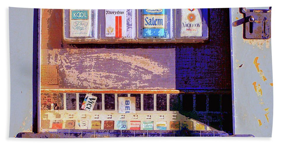 Cigarette Machine Bath Sheet featuring the mixed media Vice by Dominic Piperata