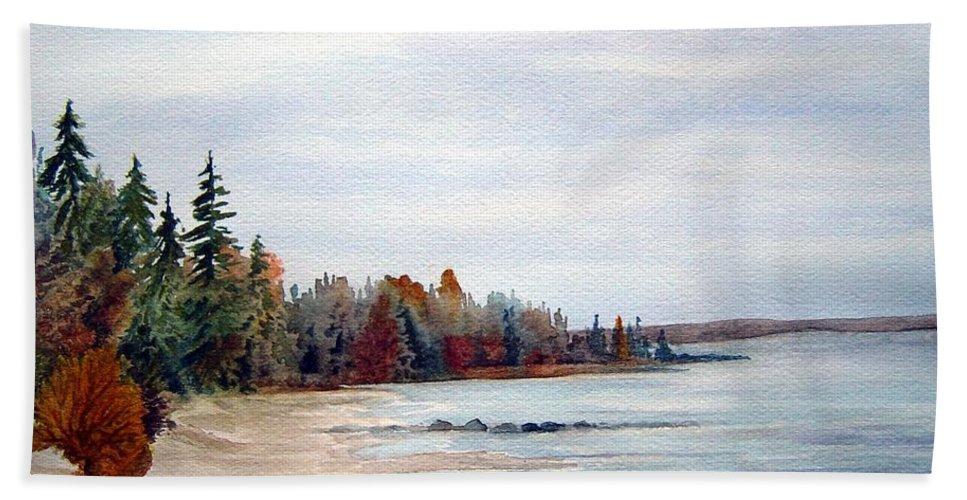 Victoria Beach Manitoba Shoreline Hand Towel featuring the painting Victoria Beach In Manitoba by Joanne Smoley