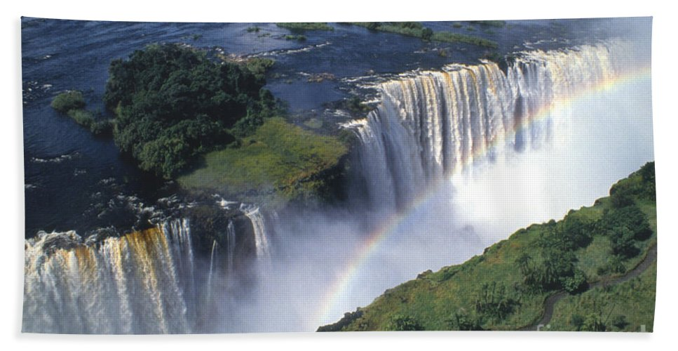 Africa Hand Towel featuring the photograph Victoria Falls Rainbow by Sandra Bronstein