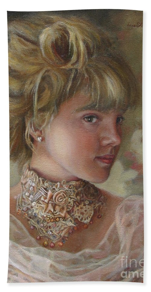 Figurative Art Hand Towel featuring the painting Victorian Beauty by Portraits By NC