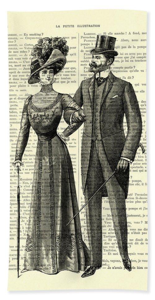 Gentleman Bath Towel featuring the digital art Victorian Couple by Madame Memento