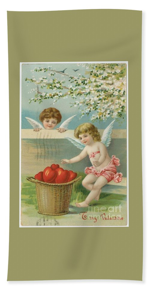 Victorian Era Valentine Card Hand Towel featuring the photograph Victorian Era Valentine Card by Pd
