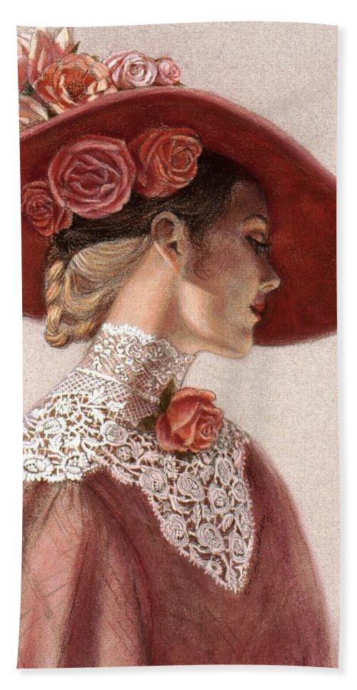 Victorian Lady Bath Towel featuring the painting Victorian Lady in a Rose Hat by Sue Halstenberg