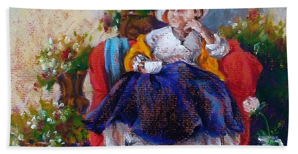 Tea Bath Sheet featuring the painting Victorian Tea Time by K M Pawelec