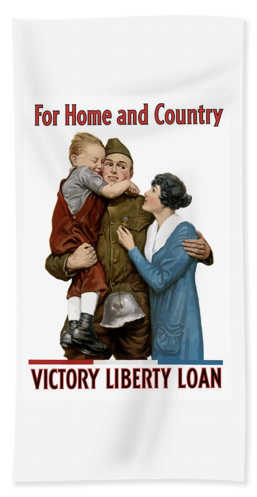 World War One Hand Towel featuring the painting Victory Liberty Loan - World War One by War Is Hell Store