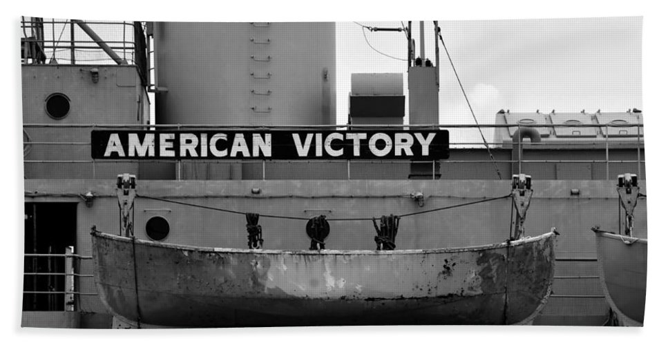 American Victory Ship Hand Towel featuring the photograph Victory Ship by David Lee Thompson