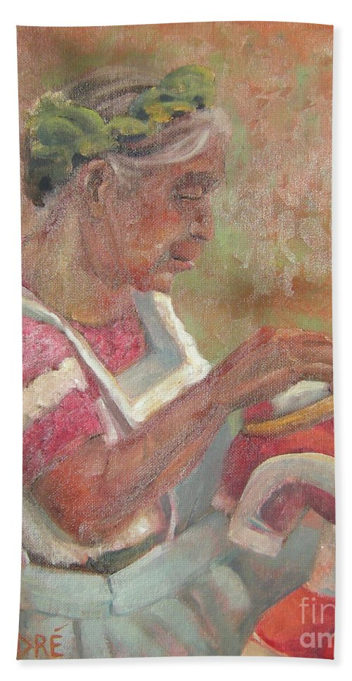 Mexican Bath Towel featuring the painting Viejita Bordando by Lilibeth Andre