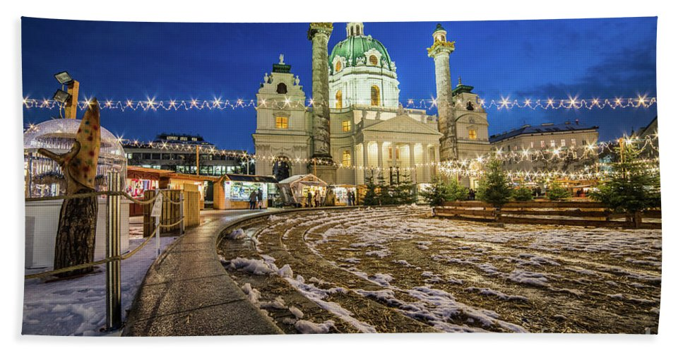 Karlskirche Bath Sheet featuring the photograph Vienna Christmas Markets by Travel and Destinations - By Mike Clegg