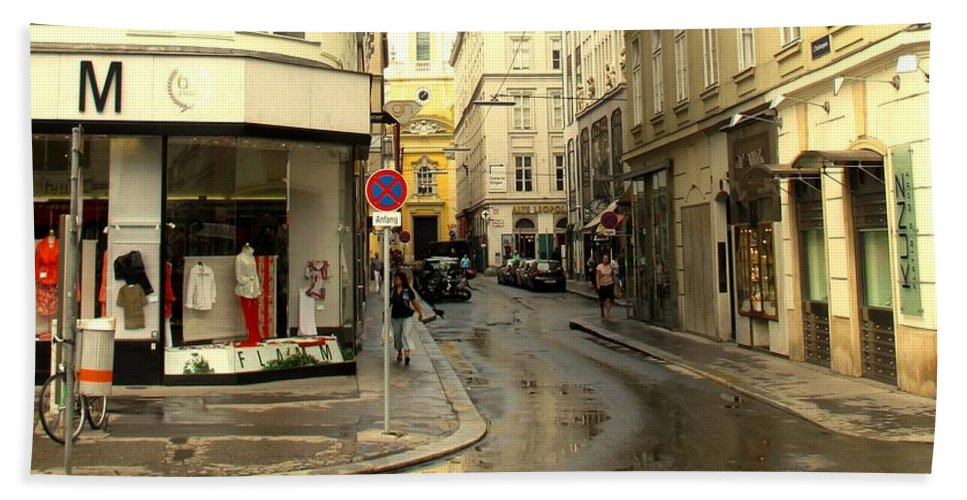 Vienna Bath Towel featuring the photograph Vienna Corner After The Rain by Ian MacDonald