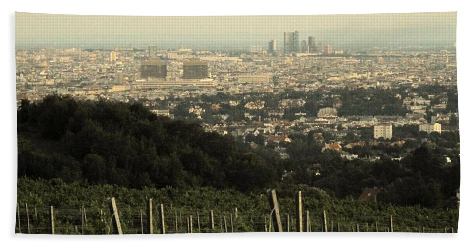Vienna Hand Towel featuring the photograph Vienna From The Hills by Ian MacDonald