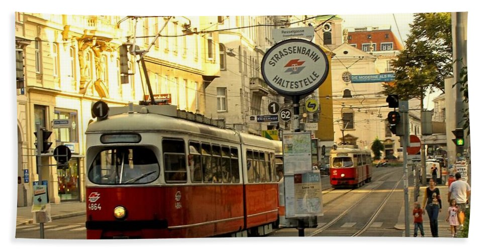 Streetcar Hand Towel featuring the photograph Vienna Streetcar by Ian MacDonald