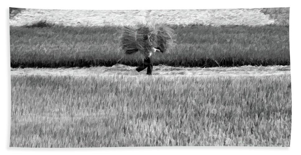 Vietnam Bath Sheet featuring the photograph Vietnamese Farmer Black White by Chuck Kuhn