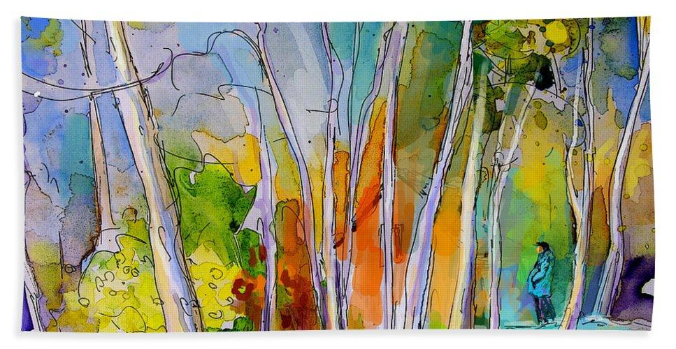 Landscape France Hand Towel featuring the painting Vieux-boucau 05 by Miki De Goodaboom
