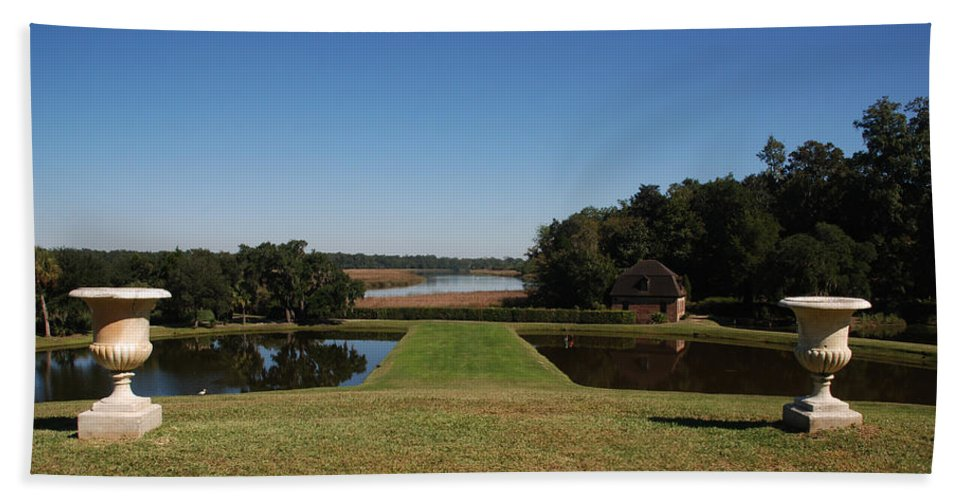 Photography Hand Towel featuring the photograph View Down To The Ashley River At Middleton Place Plantation Charleston by Susanne Van Hulst