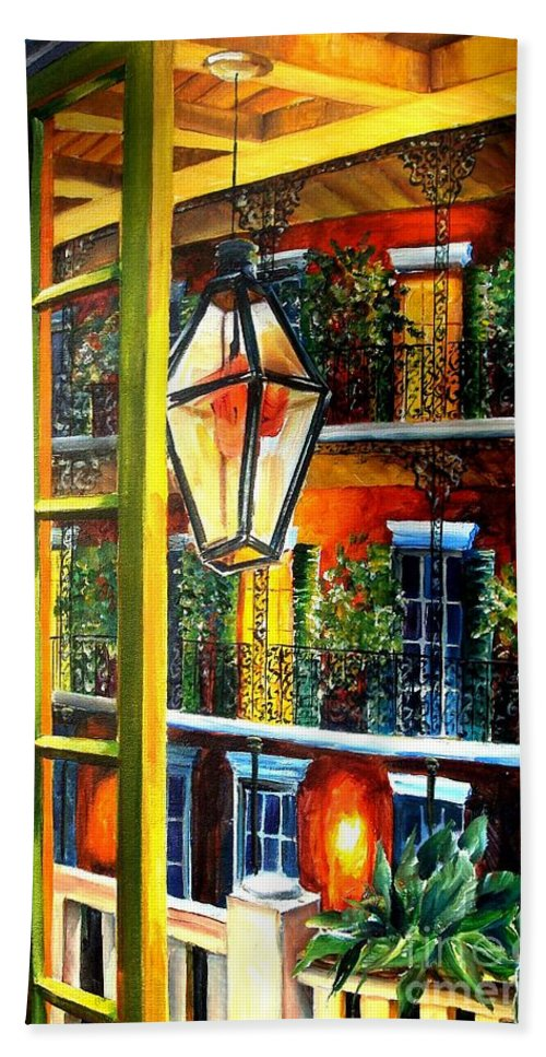 New Orleans Bath Sheet featuring the painting View From A French Quarter Balcony by Diane Millsap